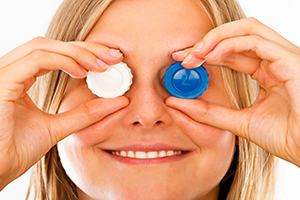 Conceptual image of applying correctly contact lenses.